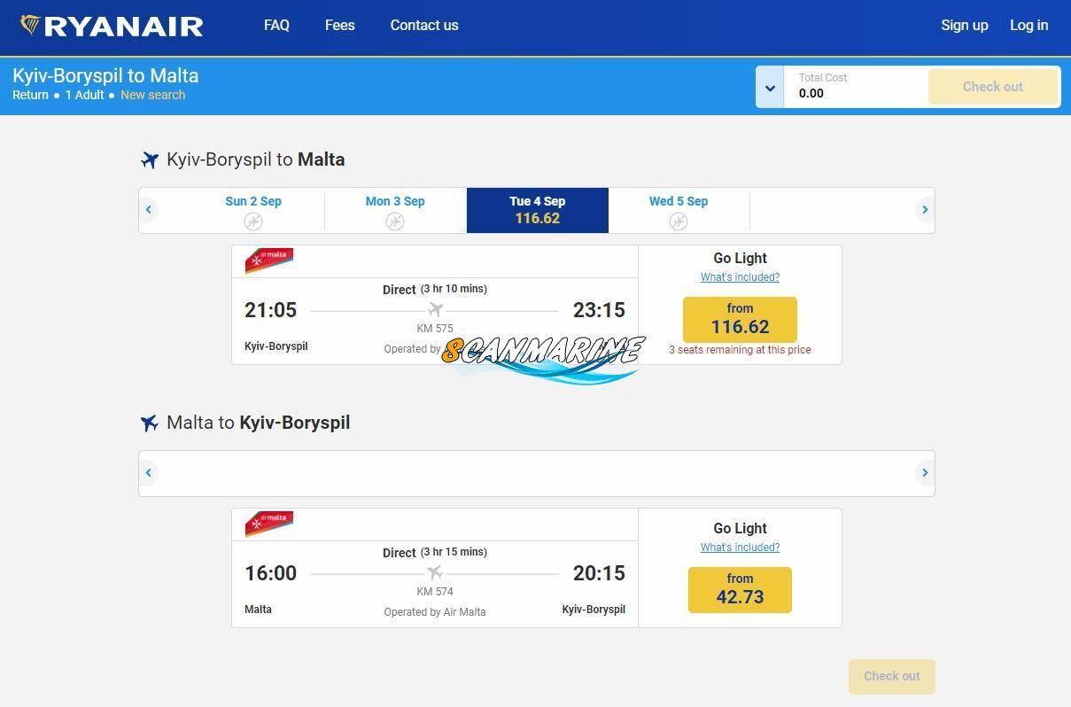 Ryanair начал продажу билетов на рейсы Киев-Мальта